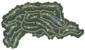 Layout of the full Meadow golf course at Bay Point Resort in PCB Florida.